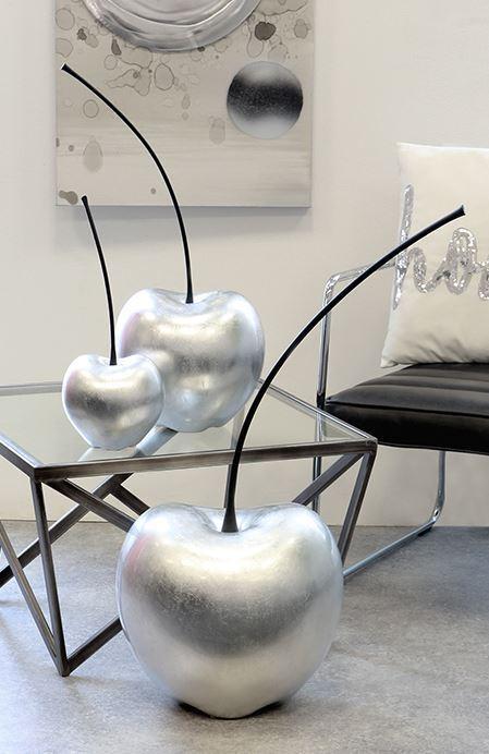 36765 deco cerise Celebration de Céramique Argent Mat Hauteur 60 cm Largeur 25 cm