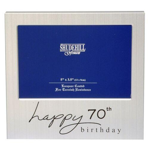 Joyeux 70th anniversaire satin argent cadre photo-shudehill