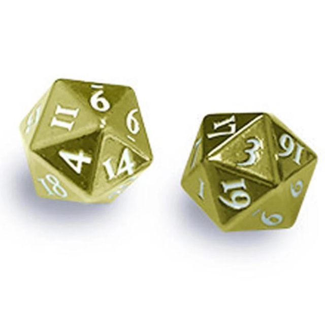 ULTRA PRO GAMING ACCESSORIES Heavy Metal D20 2-Dice Set - Gold w/ White Numbers