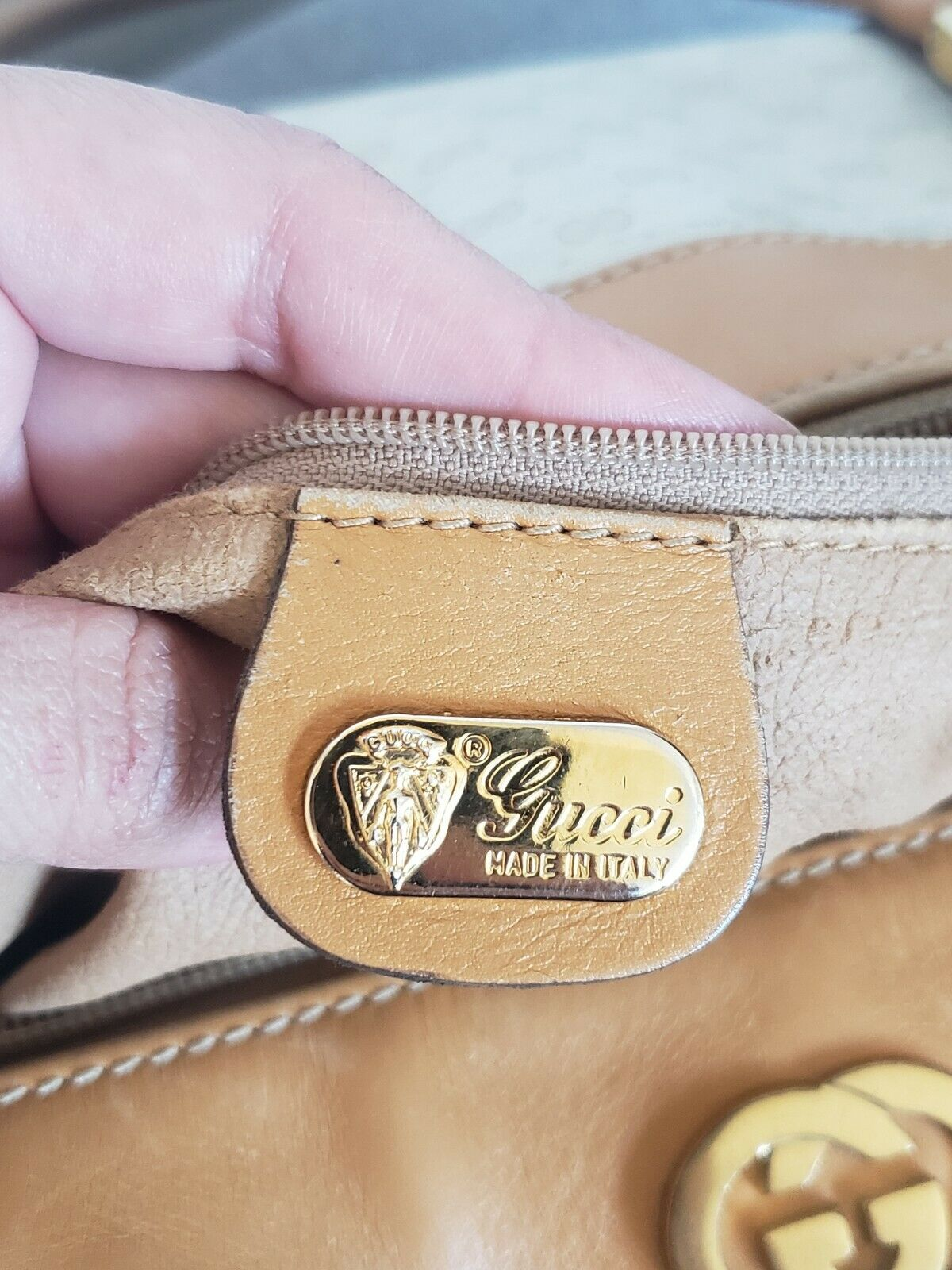 Vtg Gucci Tan GG Monogram Signature Boston Doctor… - image 8