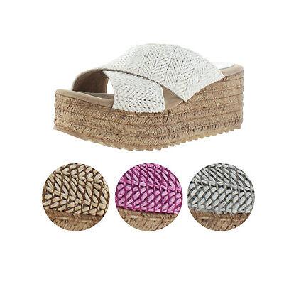 Sbicca Kareina Women's Platform Wedge Slide Woven Sandals Handmade USA