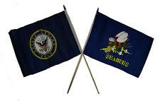 """12x18 12""""x18"""" Wholesale Combo Navy Emblem & Seabees Sea Beas Stick Flag"""
