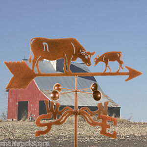 Cow-w-Calf-Weathervane-Dairy-Farm-Weather-Vane-Complete-w-Choice-of-Mount