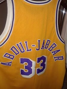 Los Angeles Lakers  33 Yellow Kareem Abdul Jabbar Jersey By Mitchell ... c17234ed5