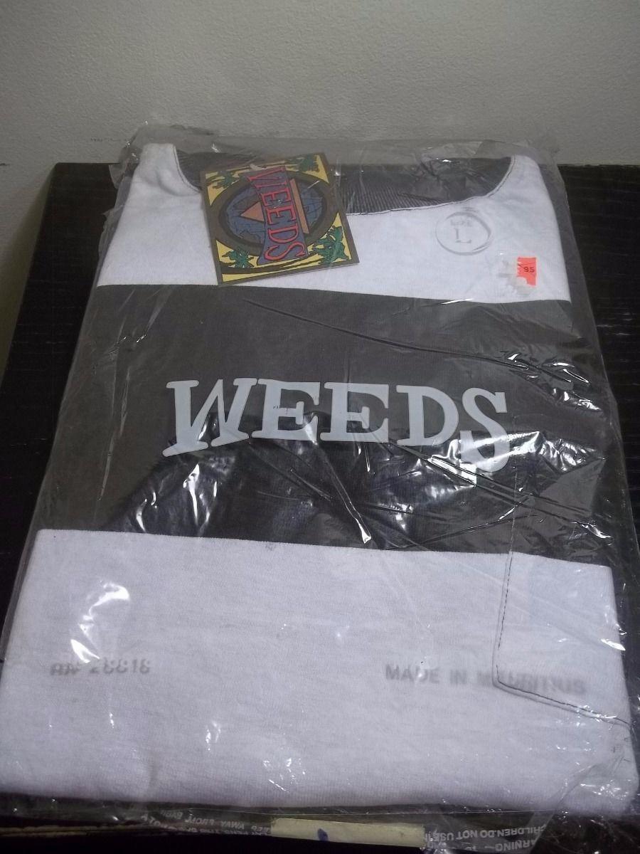 Nuevo Nuevo Nuevo Nuevo Con Etiquetas Vintage 80's Weeds Marca Acero gris/blanco L/s Camisa Talla L Grande De Algodón bca3f4