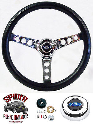 """75-77 Bronco 70-77 Ford pickup steering wheel BLUE OVAL 13 1/2"""" CLASSIC CHROME"""