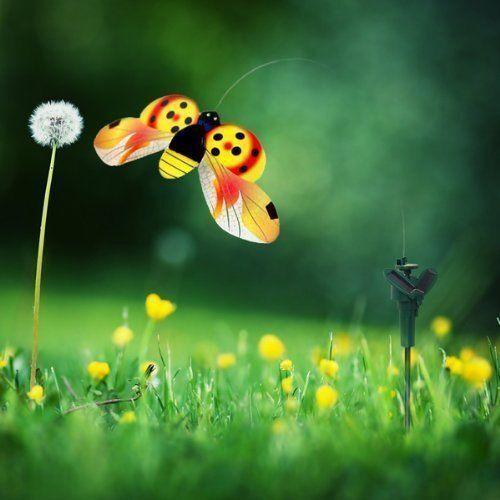 HQRP Solar Powered Flying Ladybug//Ladybird Yellow Garden Plants Patio Decor