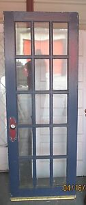 Antique 15 pane glass exterior door painted blue approx 30 for 15 panel glass exterior door