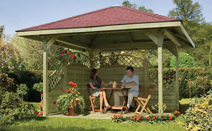 Details zu 4-eck Pavillon 390 x 390 cm Kiefer kesseldruckimprägniert grün  Holz Garten NEU