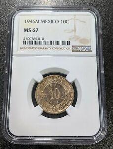 1946M-MS67-Mexico-10-Moneda-UNC-km-432-NGC-Top-Pop-6-0-Gran-Luster