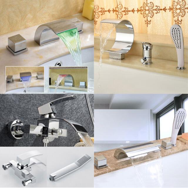 LED Badewanne Armatur mit Handbrause Wasserhahn Waschtischarmatur Mischbatterie