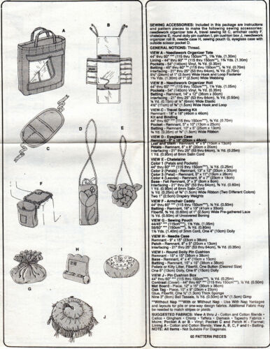 """/""""Sewing Accessories/"""" ©1999 UNCUT McCalls Sewing Pattern 2452  Organizers Totes"""