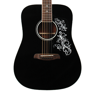sawtooth black acoustic dreadnought guitar with custom pickguard white graphic 811501054016 ebay. Black Bedroom Furniture Sets. Home Design Ideas