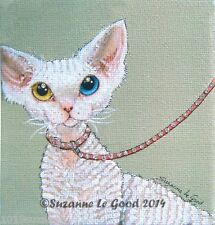 LIMITED EDITION WHITE DEVON REX PAINTING PRINT FROM ORIGINAL BY SUZANNE LE GOOD