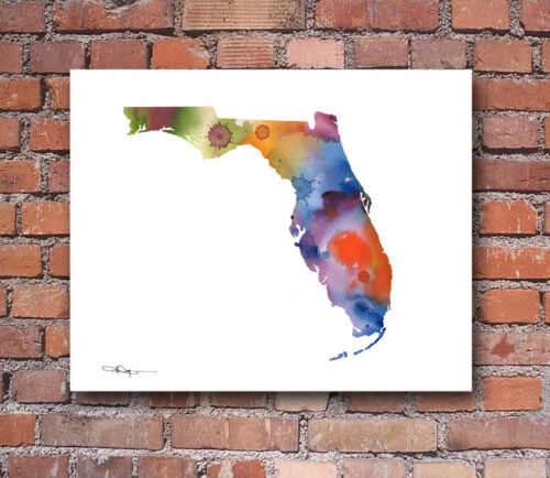 Florida Abstract Map Watercolor Painting 11 x 14 Art Print by Artist DJ Rogers