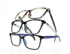 New Square Frame Temple Reading Glasses Simulated Leather ...