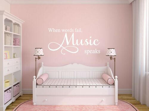 Wall Quote /'When words fail Music speaks/' Vinyl Sticker Inspirational Home