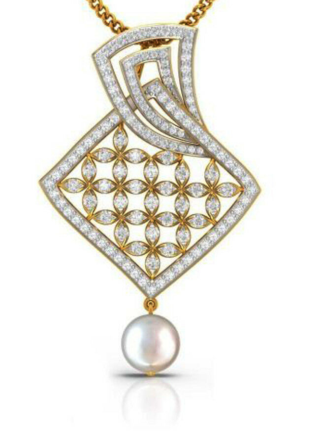 2.04ct NATURAL DIAMOND PEARL 14K YELLOW gold WEDDING ANNIVERSARY PENDANT