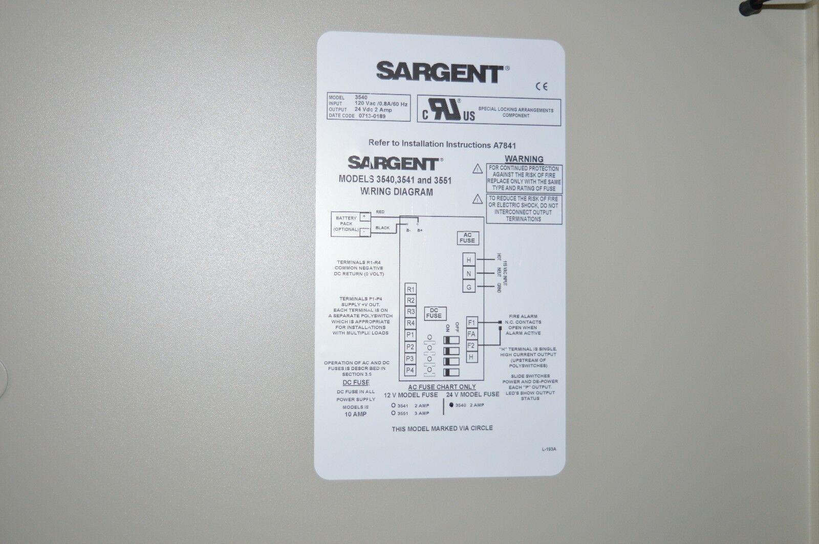 Sargent 3540 Power Supply 52 3373 2 Amp 24 Volt Ebay Wiring Diagrams By Locks Norton Secured Powered Verisign