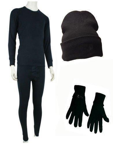 Mens Hot Thermal Underwear Set Long Sleeve Vest /& Long Johns Hat Glove Black