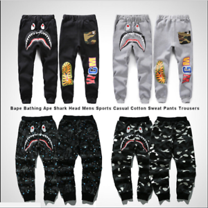 cost charm complimentary shipping latest trends Details about NEW Bape A Bathing Ape Shark Head Trousers Mens Sports Casual  Cotton Sweat Pants