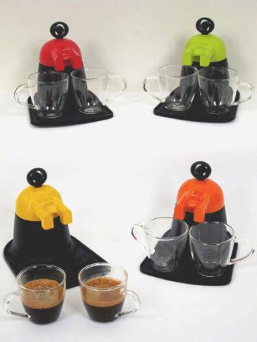 CAFFETTIERA DA 2 TAZZE CON 2 TAZZINE IN VETRO COLORI ARANCIO ROSSO GIALLO VERDE