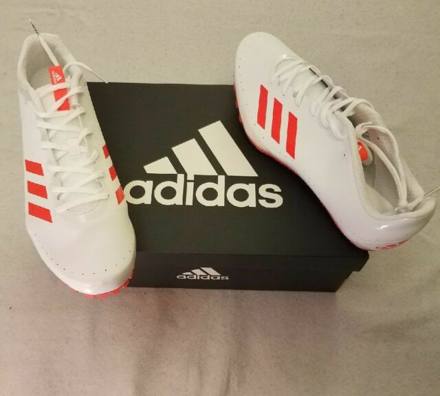 8fe499522fd Frequently bought together. Adidas Mens Track Cleats Size 12 Sprintstar  Solar Red Cloud White Spikes BB5746