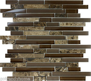 Image is loading 1SF-Brown-Glass-Natural-Stone-Linear-Mosaic-Tile-