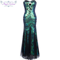 Angel-fashions Sweetheart Sequin Bead Mermaid Flapper Prom Dress Green 210