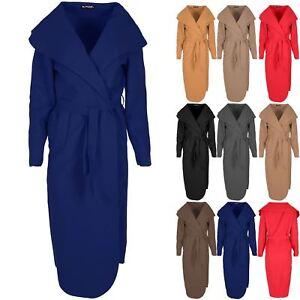 Womens-Tie-Belt-Waterfall-Italian-Cape-Cardigan-Maxi-Duster-Ladies-Trench-Coat