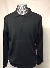 Men's Cotton Reel, Light Weight, Silk/Cotton, Polo Style Sweater,Black,Med, NWT