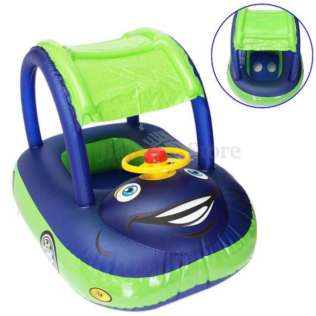 Blue-Green Sunshade Baby Float Seat Car Boat Inflatable Swim Ring Pool Water Fun