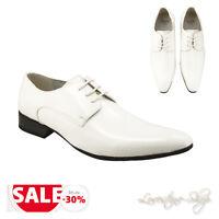 Herrenschuhe weiß Lackschuhe Hochzeit Business Tanzschuhe Schuhe Schnürer 8S788