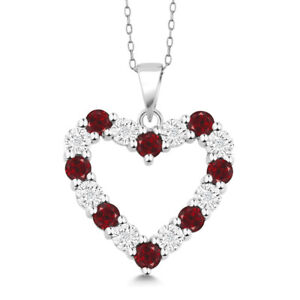 Diamond and red garnet 925 sterling silver heart pendant necklace on image is loading diamond and red garnet 925 sterling silver heart aloadofball Gallery