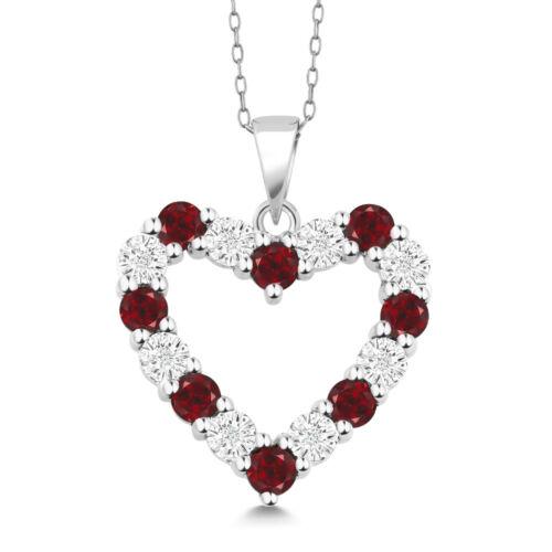"""Diamant Et Rouge Grenat Argent Sterling 925 Coeur Collier Pendentif Sur 18/"""" Chaîne"""