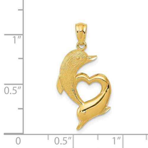 14K Or Jaune Brillant-cut en satin et poli Dauphins Pendentif en forme de cœur