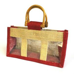 5-x-Three-Small-Jar-Jute-Gift-Bag-Natural-And-Red-Gift-Bags-With-Handles