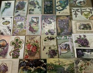 Lot-of-25-Pretty-Purple-Violets-Flowers-Vintage-Floral-Greetings-Postcards-s750