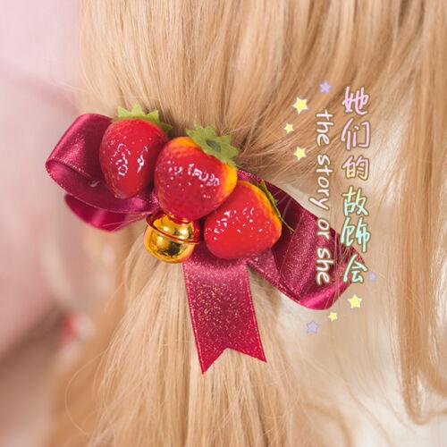 Vintage Mori Girl Sweet Lolita Strawberry Bowknot Cute Hairpin Hair Accessories