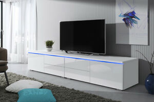 Détails sur Luv Double meuble TV 200 cm Blanc Noir Gris Laqué Brillant  design salon moderne