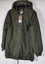 Lee Cooper Hombre Abrigo largo cuello acanalado puños con Capucha Cremallera Completa Top Verde XL B353