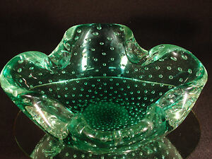 Vintage-Murano-Green-Blown-Glass-Controlled-Bubble-Bowl-Ground-Bottom