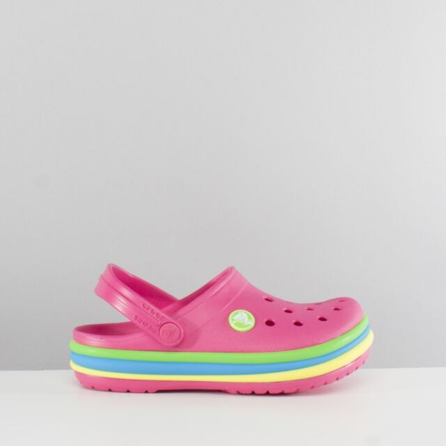 f397338d0dcf04 Crocs 205205 RAINBOW BAND Kids Girls Summer Beach Pool Clogs Paradise Pink