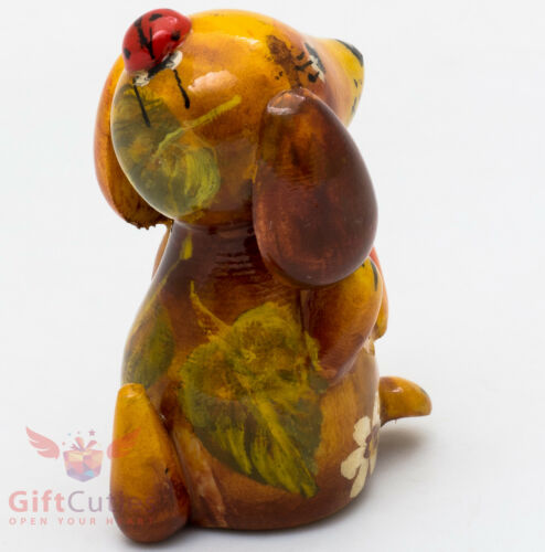 Details about  /Wooden Dachshund Dog with Ladybug figurine handmade in Russia