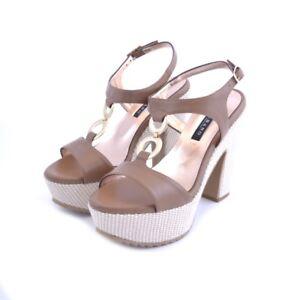 Scarpe shoes sandali Albano donna woman pelle leather marrone cuoio tacco corda