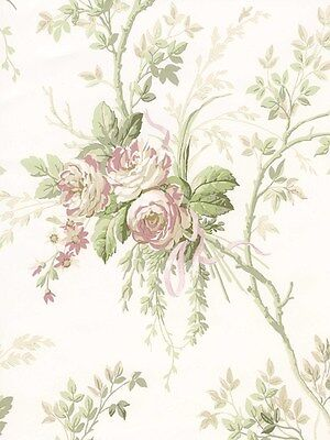 AUCTION York Wallcoverings Classic Floral Trail Pink Green White Vintage Chic