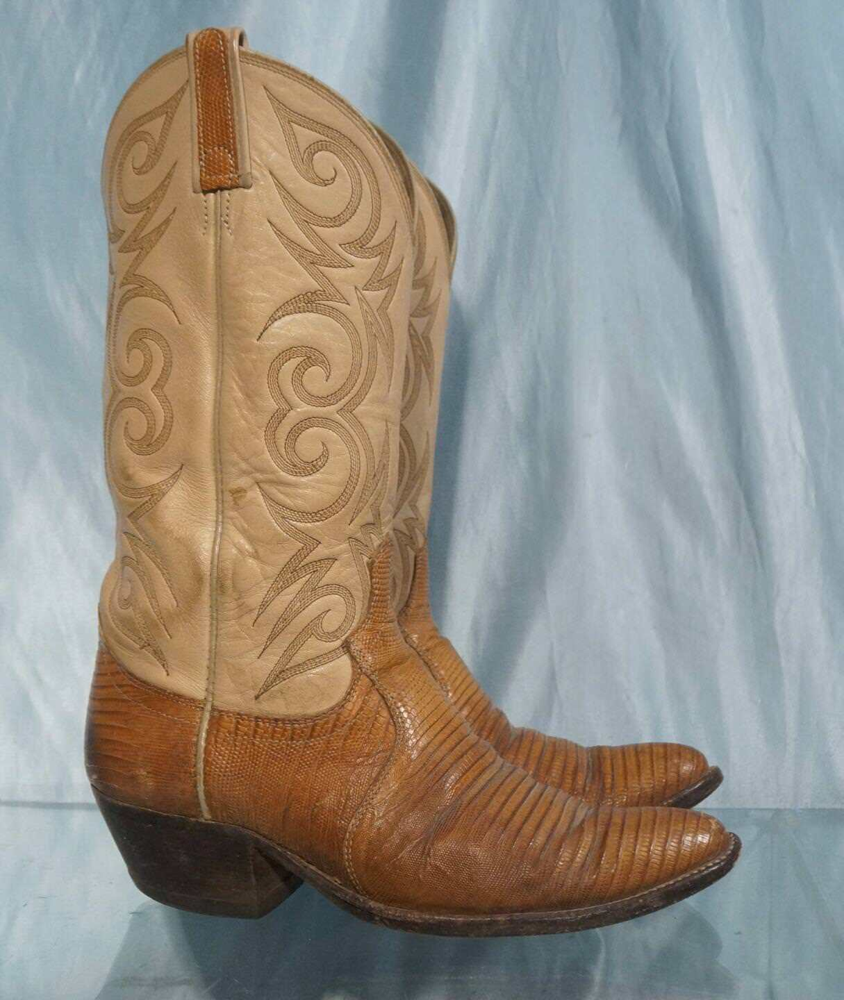 Handsome 14  DAN POST Ivory Leather & Brown Lizard Cowboy Western Boots Sz  8D