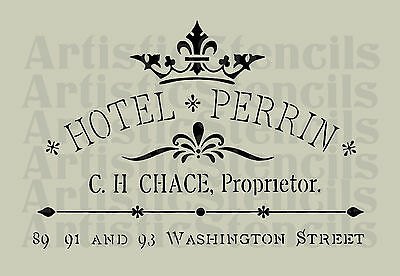 STENCIL French Hotel Ad with Crown Sign   11x16