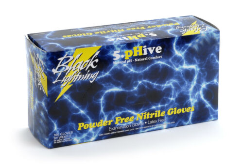Black Lightning Powder-Free Nitrile Gloves 100 Pack Large 6.5 Mil Thickness BLL