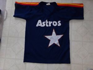 cheap for discount 15abc 4b47b Details about VINTAGE 1980s Throwback HOUSTON ASTROS JERSEY Blue w/ RAINBOW  Stripes ADULT LG